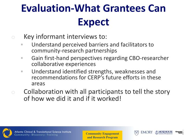 Evaluation-What Grantees Can Expect