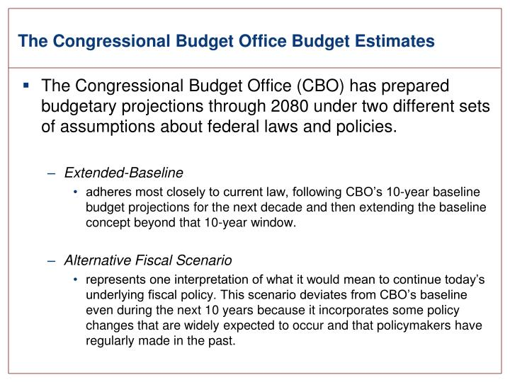 The congressional budget office budget estimates
