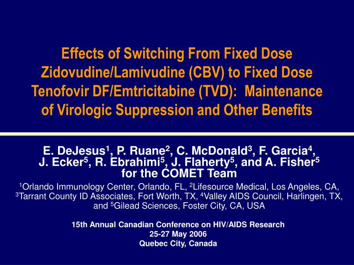 Effects of Switching From Fixed Dose Zidovudine/Lamivudine (CBV) to Fixed Dose Tenofovir DF/Emtricit...