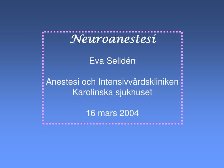 Neuroanestesi