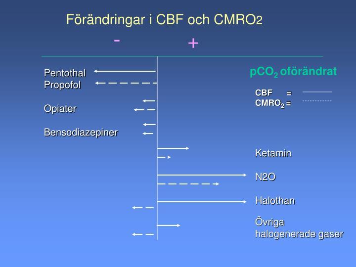 Förändringar i CBF och CMRO