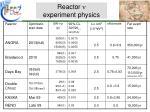 reactor n experiment physics