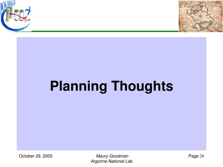 Planning Thoughts