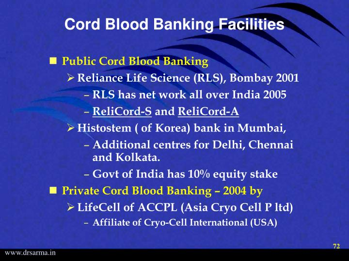 Cord Blood Banking Facilities