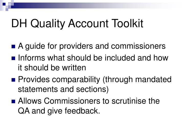 DH Quality Account Toolkit