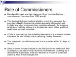 role of commissioners