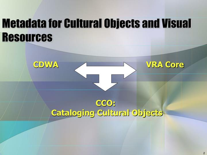 Metadata for cultural objects and visual resources