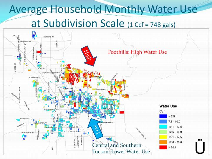 Average Household Monthly Water Use at Subdivision Scale