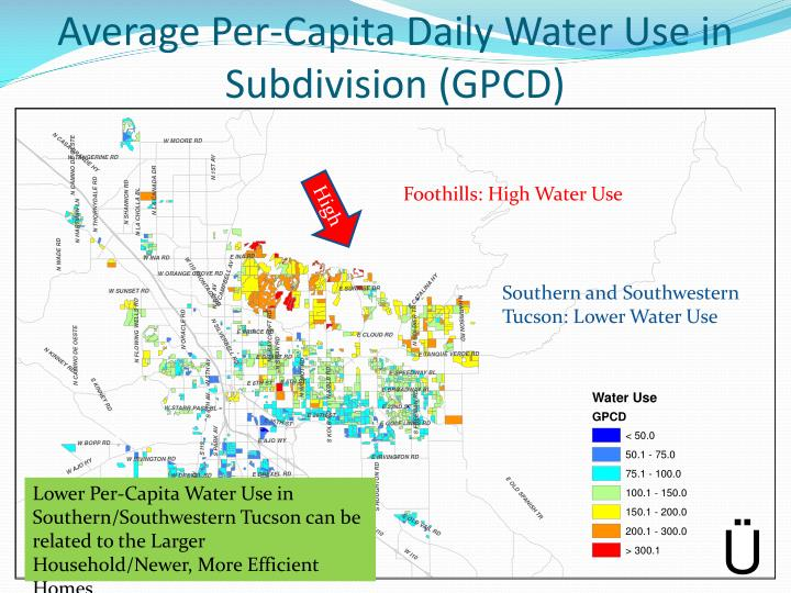 Average Per-Capita Daily Water Use in Subdivision (GPCD)