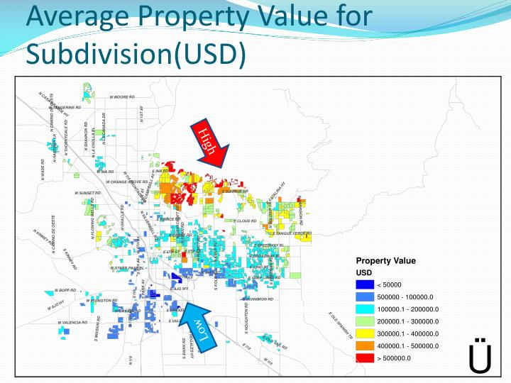Average Property Value for Subdivision(USD)