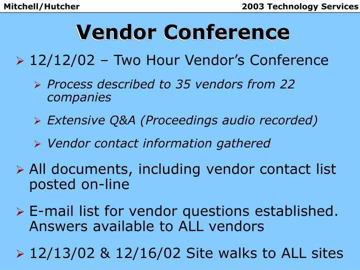 Vendor Conference