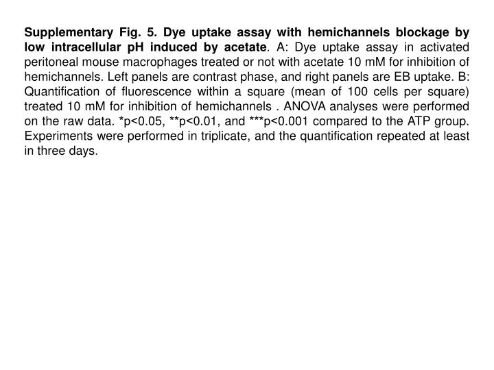 Supplementary Fig. 5. Dye uptake assay with hemichannels blockage by low intracellular pH induced by acetate