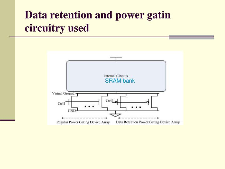 Data retention and power gatin circuitry used