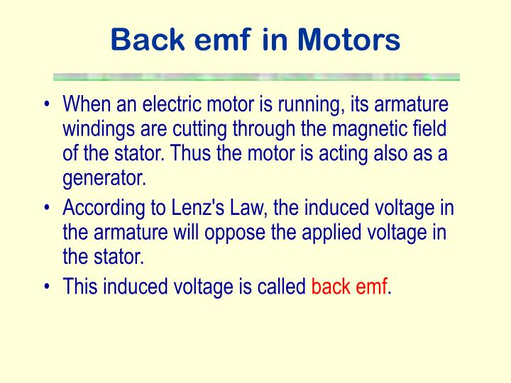 Back emf in Motors