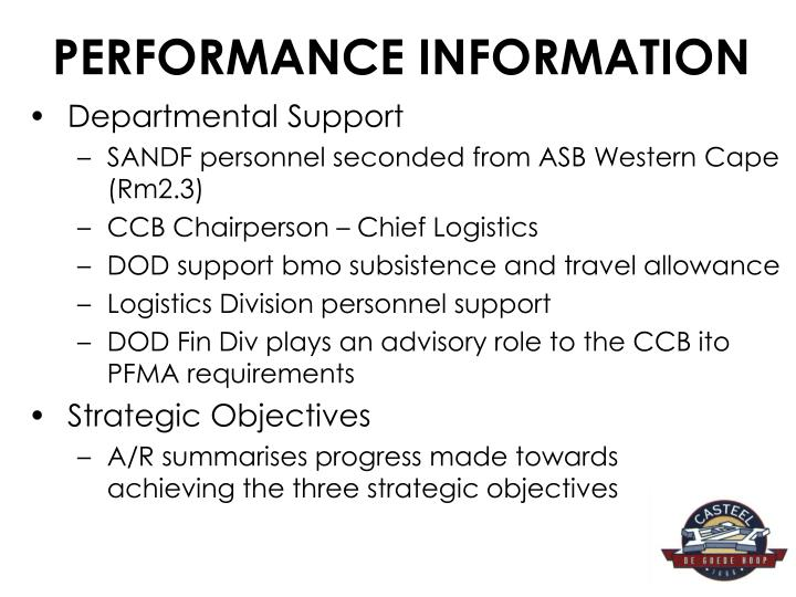 PERFORMANCE INFORMATION