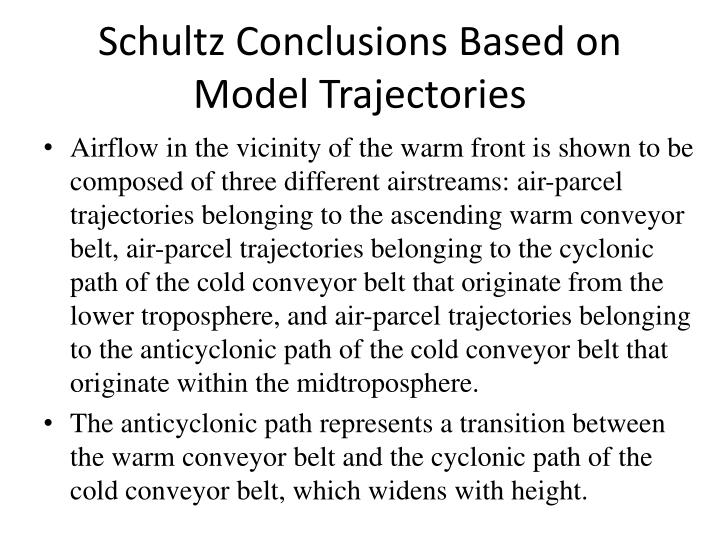 Schultz Conclusions Based on Model Trajectories