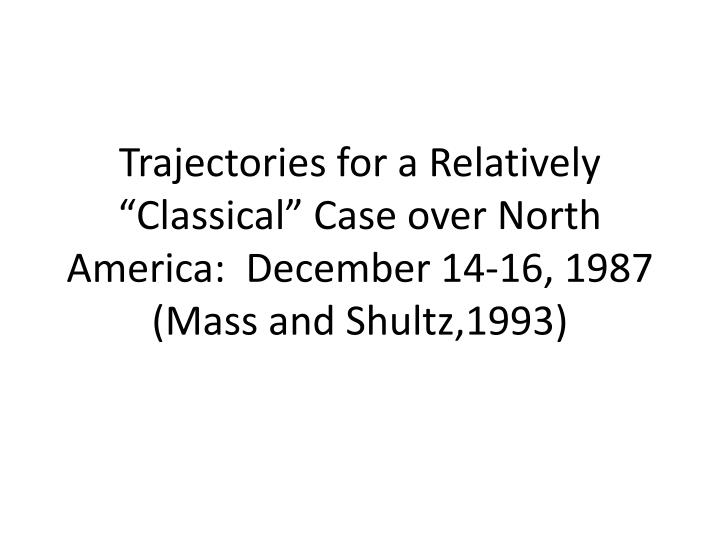 "Trajectories for a Relatively ""Classical"" Case over North America:  December 14-16, 1987 (Mass and Shultz,1993)"