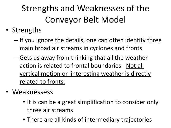 Strengths and Weaknesses of the Conveyor Belt Model