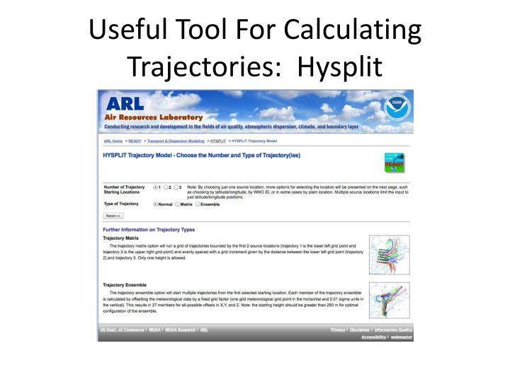 Useful Tool For Calculating Trajectories:  Hysplit