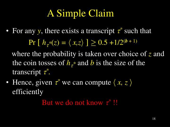 A Simple Claim