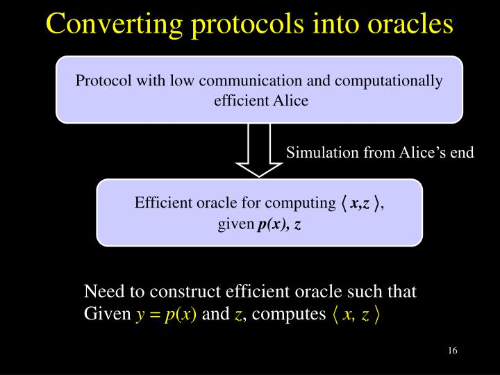 Converting protocols into oracles