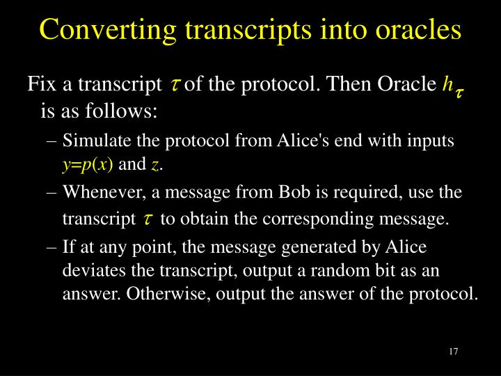Converting transcripts into oracles