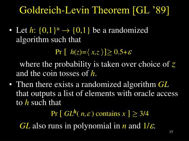 Goldreich-Levin Theorem [GL '89]