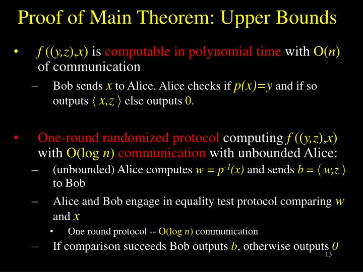 Proof of Main Theorem: Upper Bounds