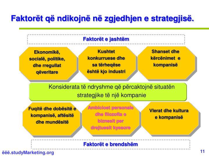 Faktorët që ndikojnë në zgjedhjen e strategjisë.