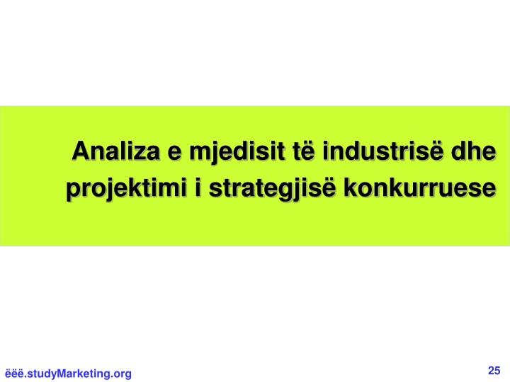 Analiza e mjedisit të industrisë dhe  projektimi i strategjisë konkurruese