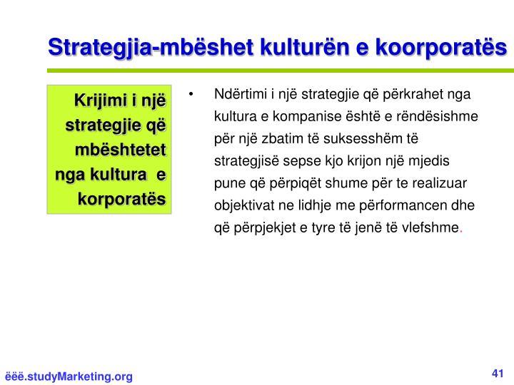 Strategjia-mbëshet kulturën e koorporatës