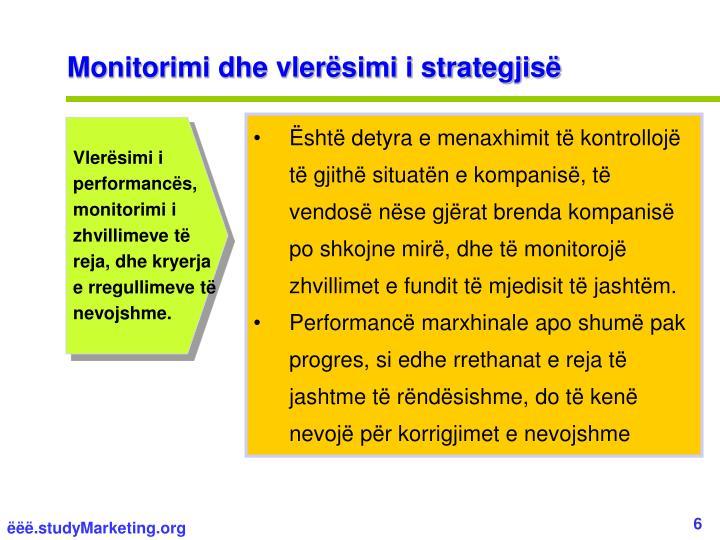 Monitorimi dhe vlerësimi i strategjisë