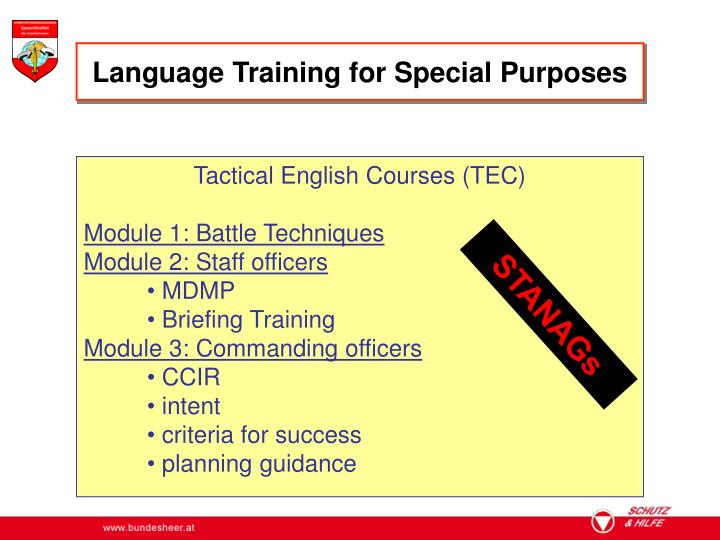 Language Training for Special Purposes