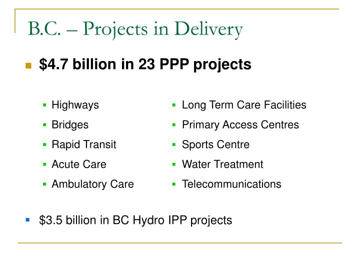 B.C. – Projects in Delivery