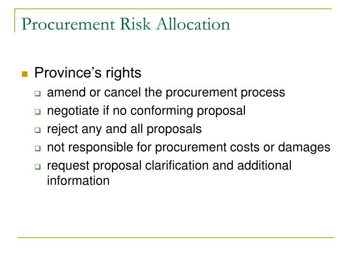 Procurement Risk Allocation