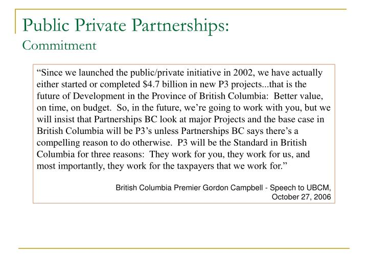 Public private partnerships commitment