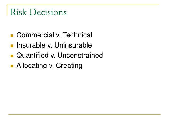 Risk Decisions