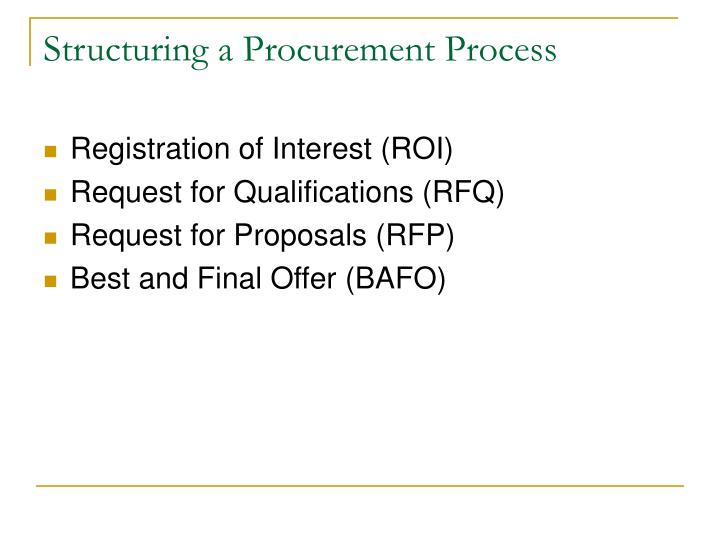 Structuring a Procurement Process
