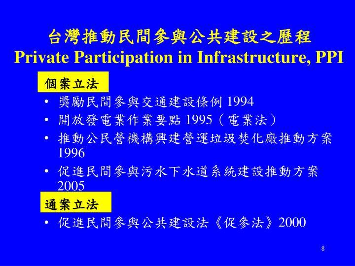 台灣推動民間參與公共建設之歷程