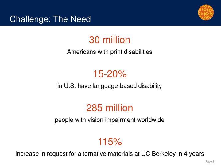 Challenge: The Need