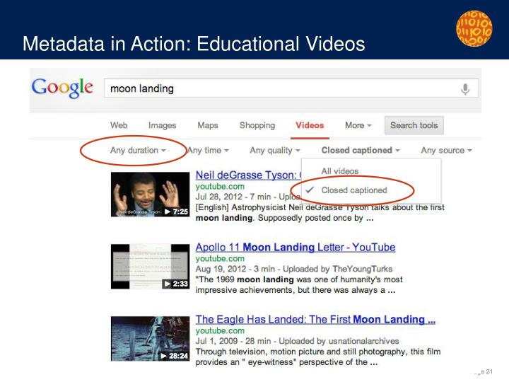 Metadata in Action: Educational Videos