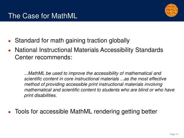 The Case for MathML