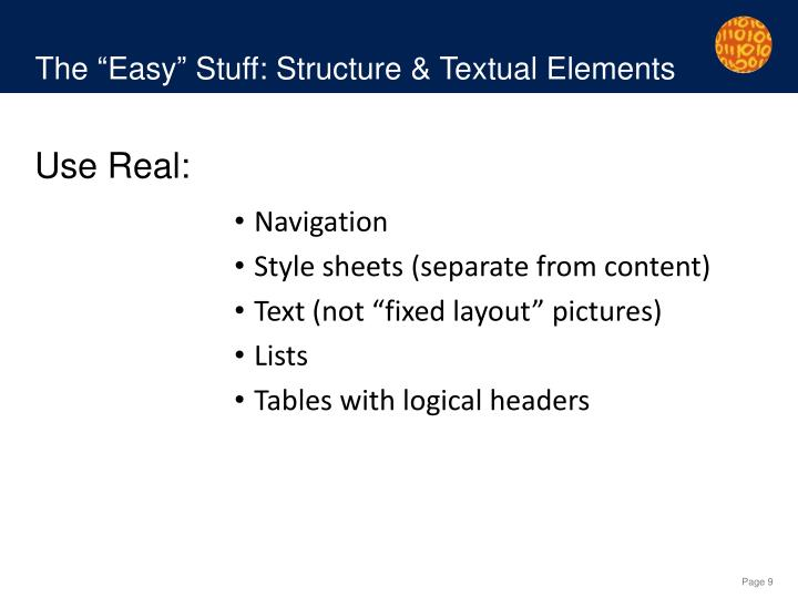 "The ""Easy"" Stuff: Structure & Textual Elements"