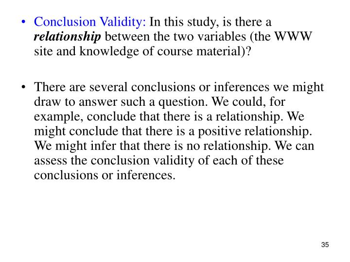 Conclusion Validity: