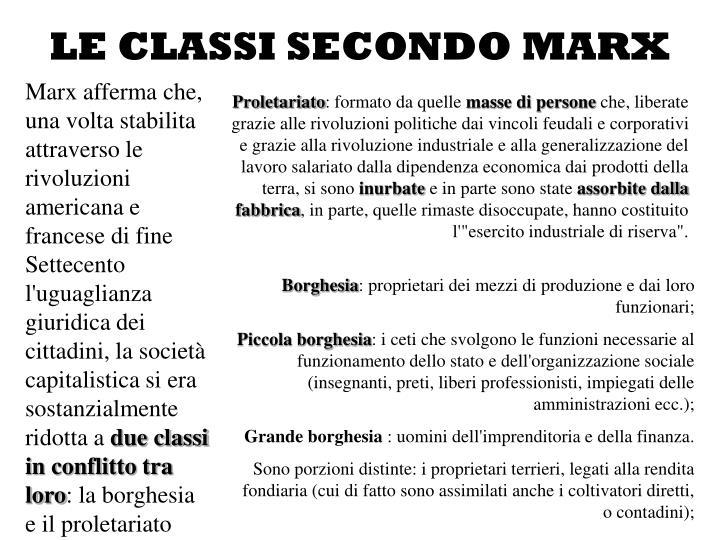 LE CLASSI SECONDO MARX