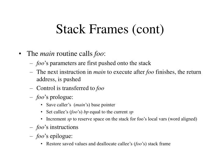 Stack Frames (cont)