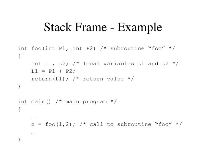 Stack Frame - Example