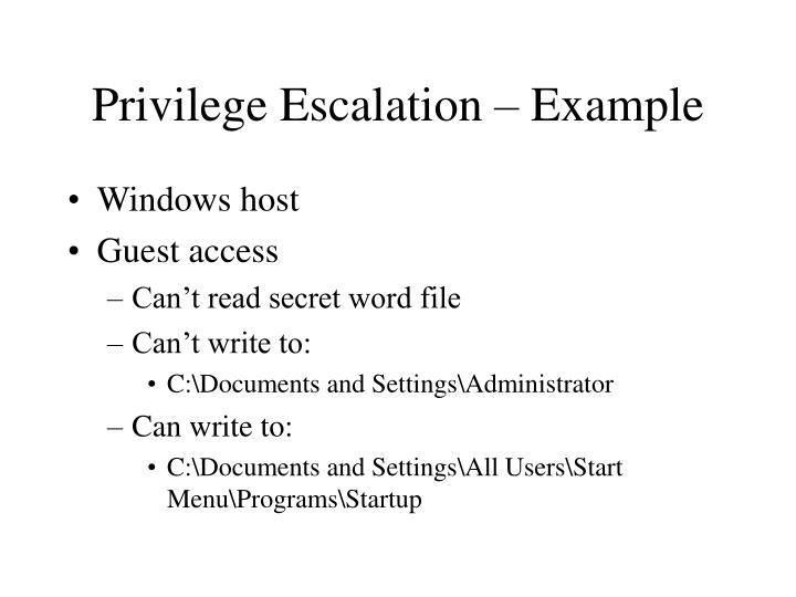 Privilege Escalation – Example