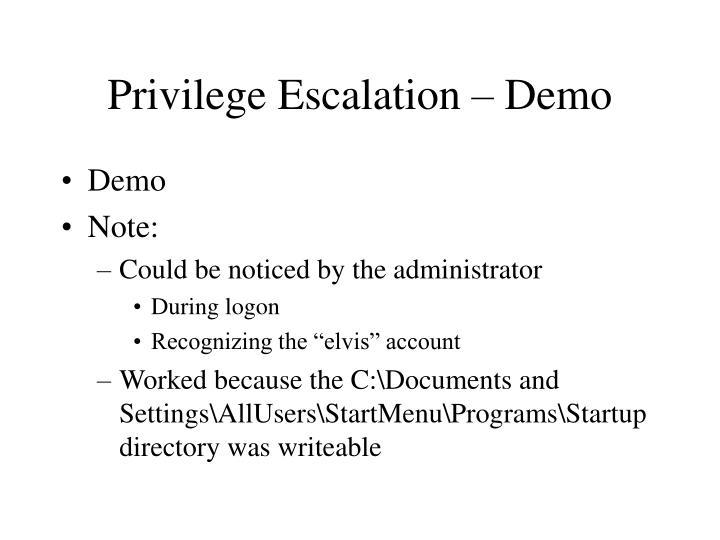 Privilege Escalation – Demo