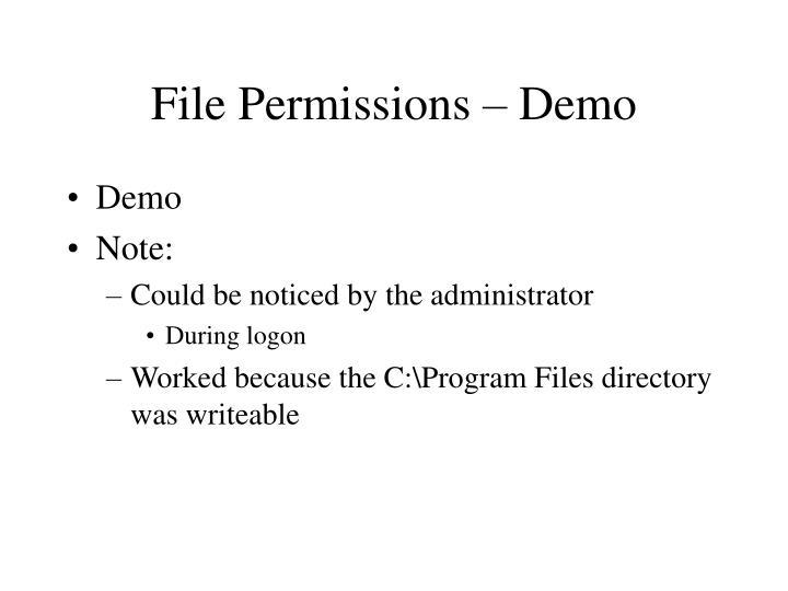 File Permissions – Demo